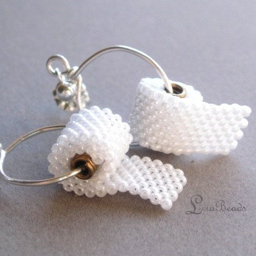 Something fun... Toilet Paper in your ears beadwoven earrings for by LiciaBeads, $40.00