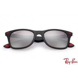 ba6ced1d59eda Ray Bans RB4195m Scuderia Ferrari Collection with Black frame and Silver  Mirror Chromance lenses