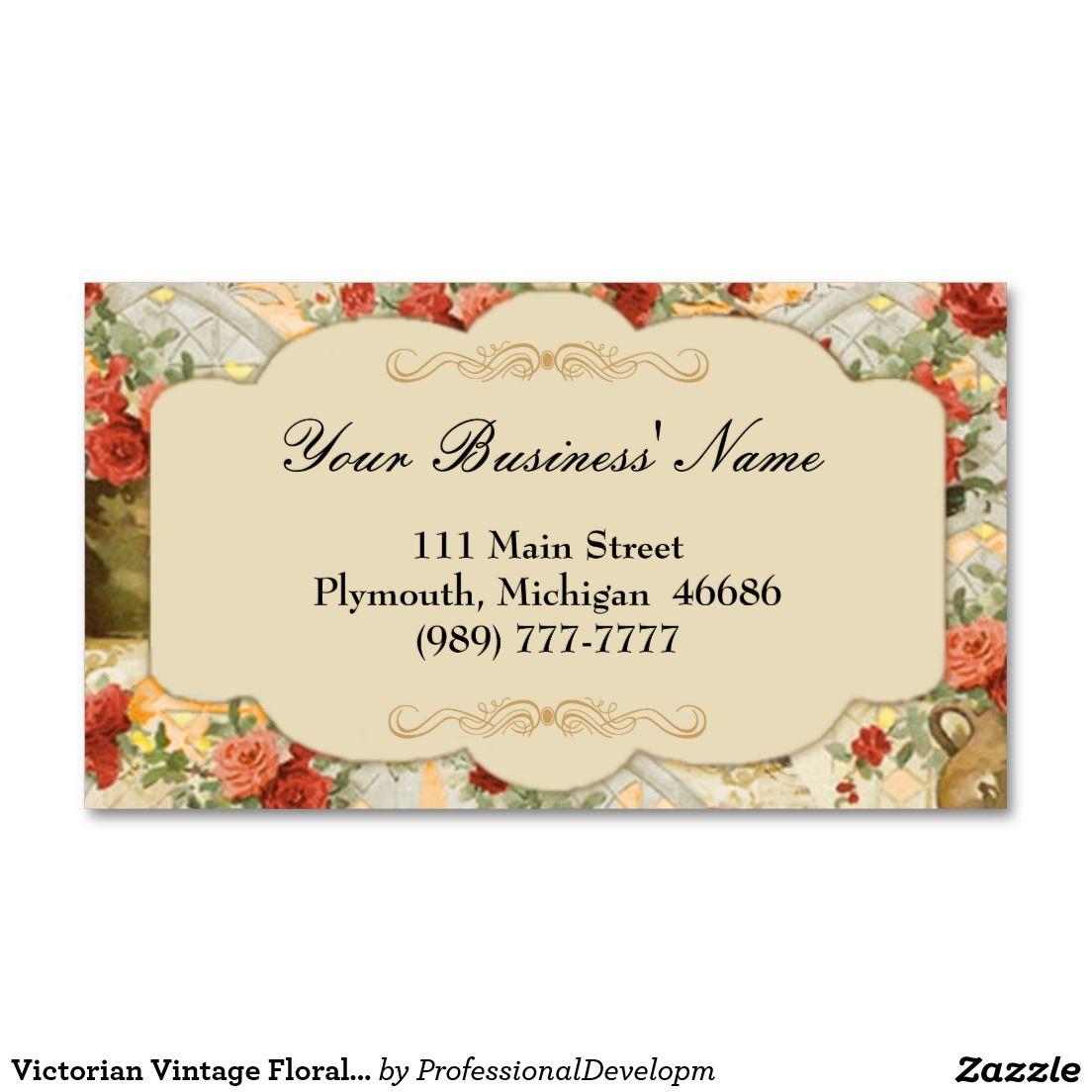 Victorian Vintage Floral Business Card Zazzle Com Floral Business Cards Vintage Floral Business Cards
