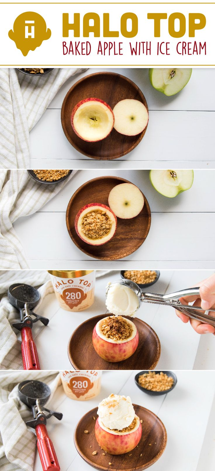 baked apple topped with halo top salted caramel ice cream healthy desserts skinny dessert on hebbar s kitchen recipes videos ice cream id=20698