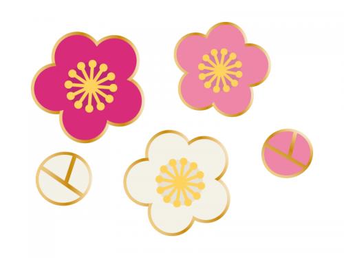 三色の梅の花の年賀状 お正月イラスト03 正月 イラスト 梅の花 イラスト 梅 イラスト