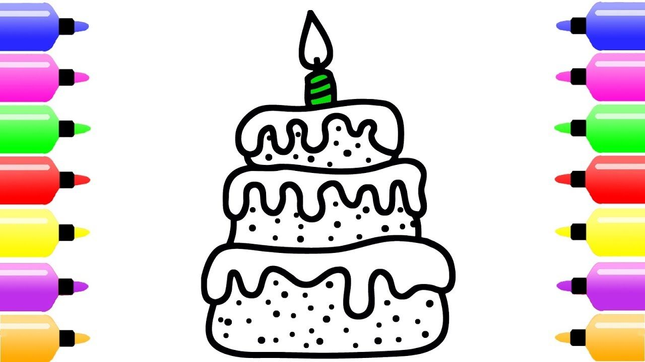 How To Draw Birthday Cake With Candle For Baby Cute Coloring Pages