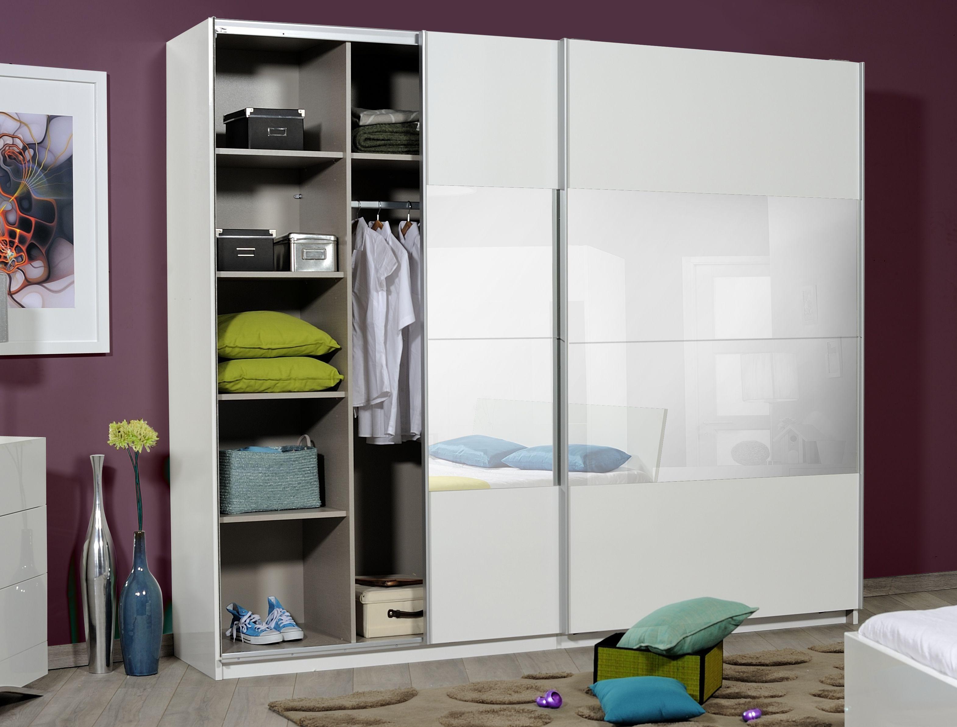 armoire 2 portes coulissantes blanche et miroir 260 cm