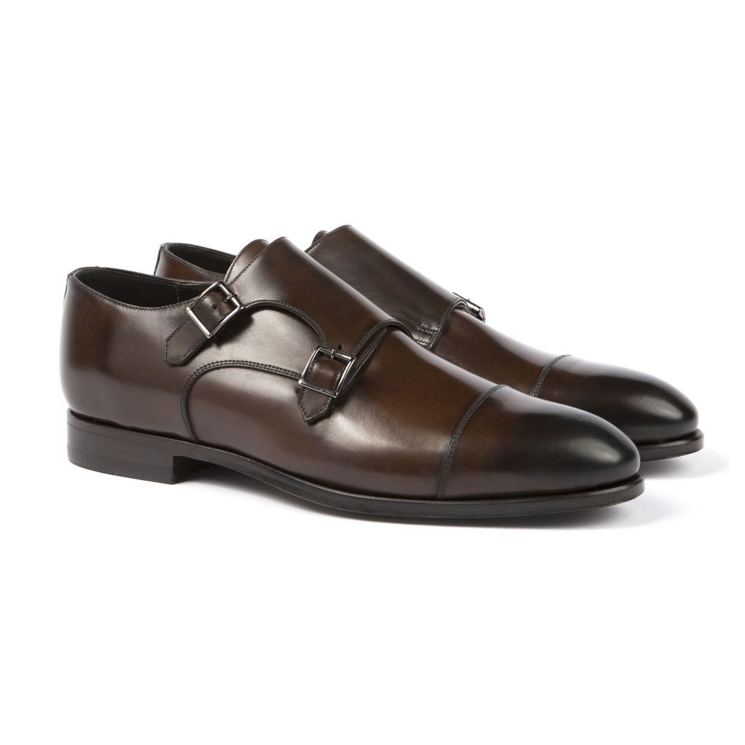 Crafted from soft, supple Abrasivato leather, these elegant double monk  shoes are a handsome