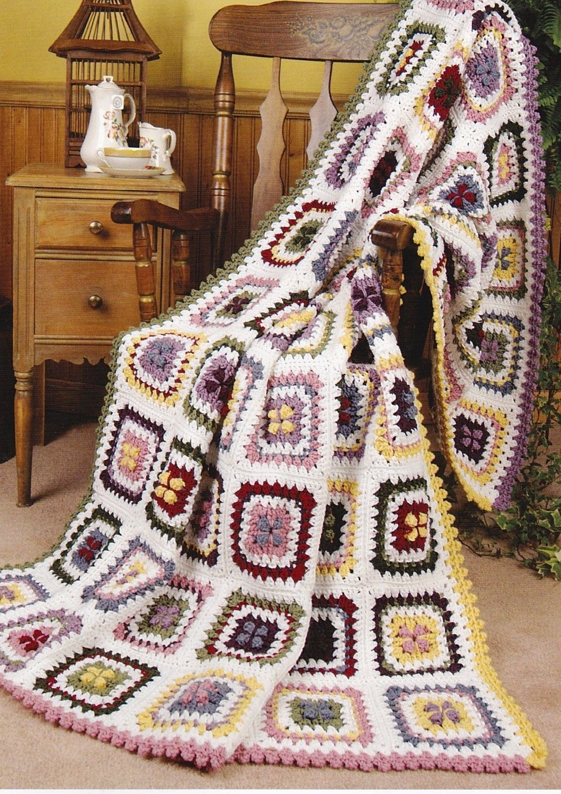 PRETTY Hot-Cross Granny Afghan//Crochet Pattern INSTRUCTIONS ONLY