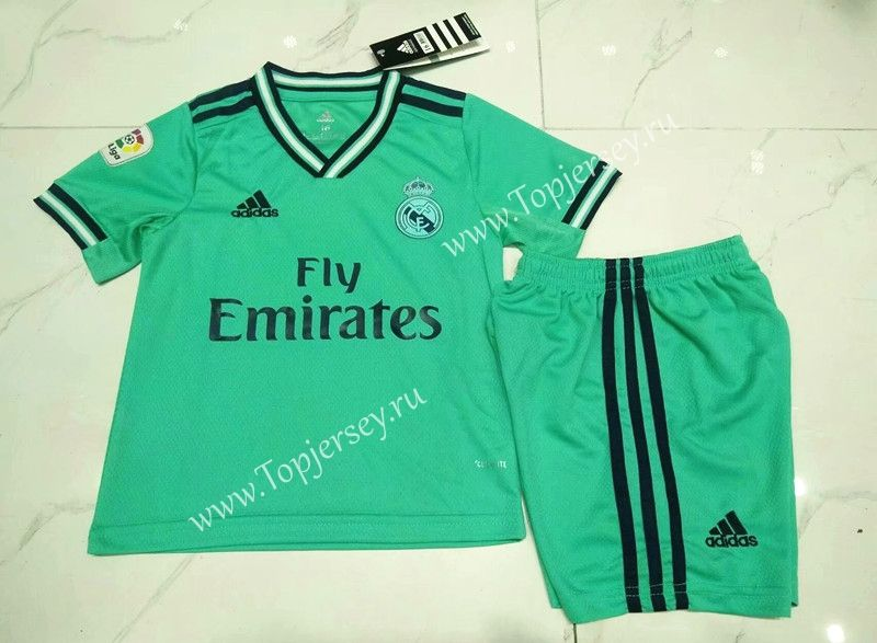 2019 2020 Real Madrid Away Green Kids Youth Soccer Uniform 1920