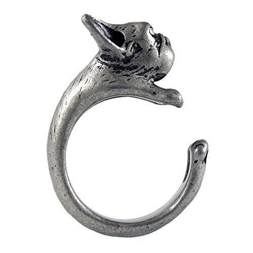 French Bulldog Frenchie Puppy Adjustable Animal Wrap Ring Vintage Silver Tone Ellenviva http://www.amazon.com/dp/B00O61H9WG/ref=cm_sw_r_pi_dp_bQVJub1W9R926