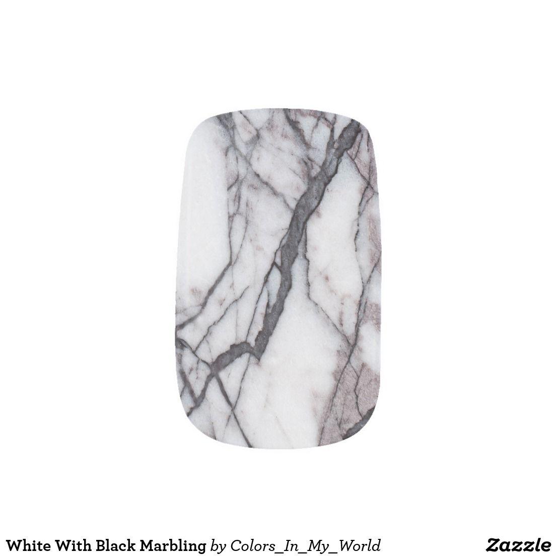 White With Black Marbling Minx Nail Art   Zazzle.com