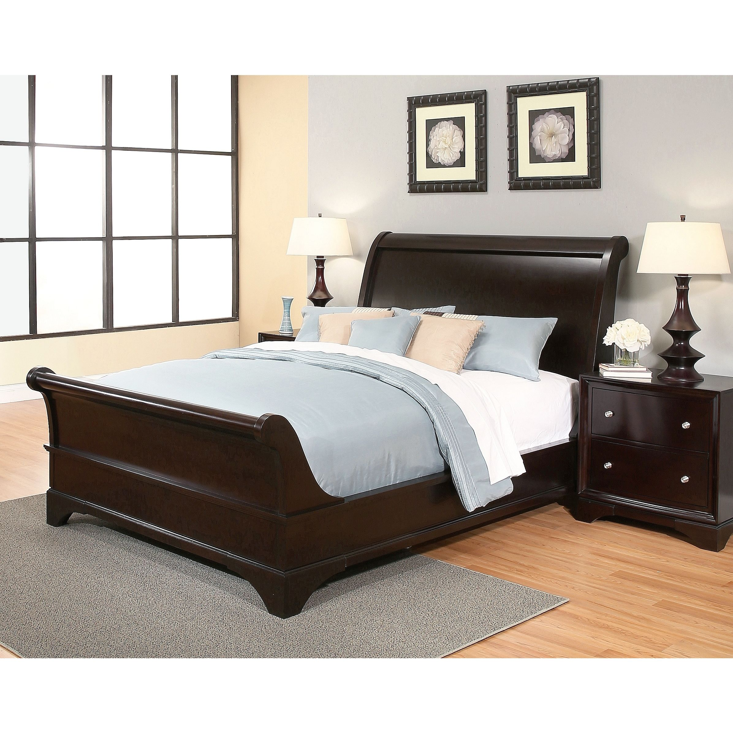 Abbyson Kingston Espresso Sleigh King Size Bed (Eastern King), Brown