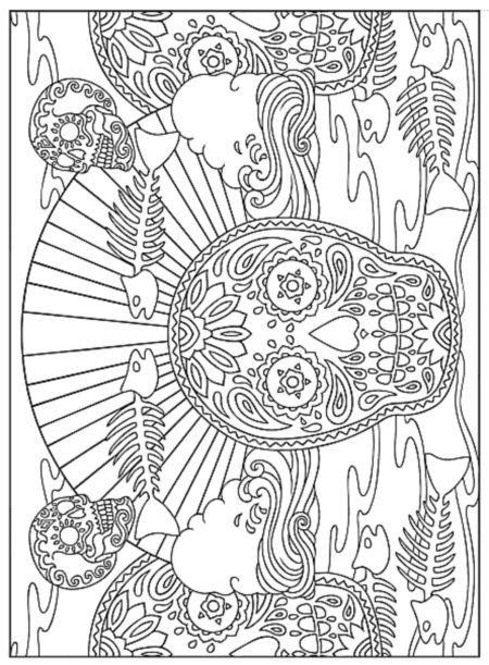 Day Of Dead With Fish Bones Coloring Page