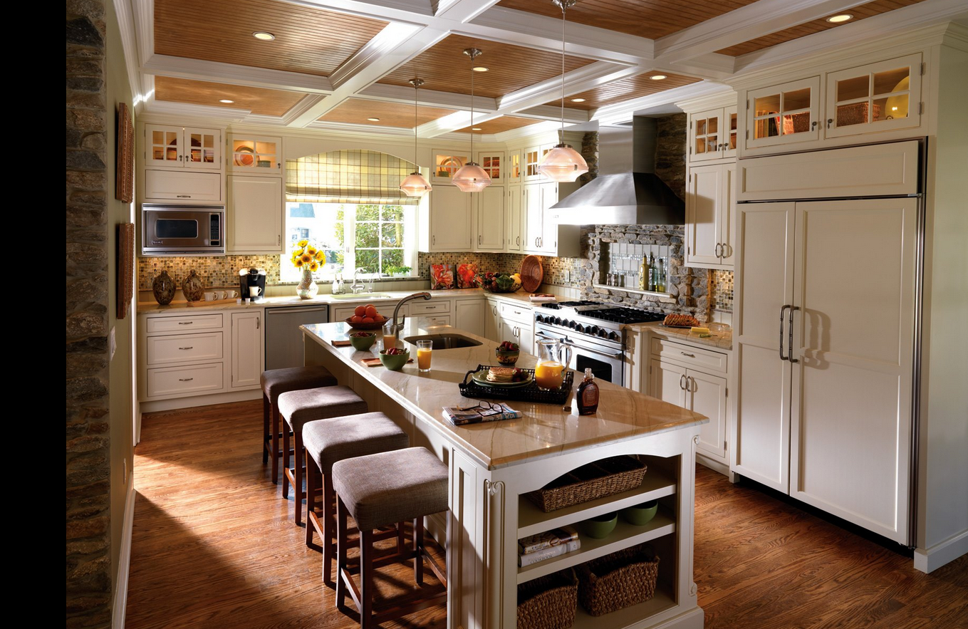 A Center Island Doubles As A Place To Sit And Cooking Space Another Great Idea For Kitchen Craft Cabinets Contemporary Kitchen French Country Kitchen Cabinets