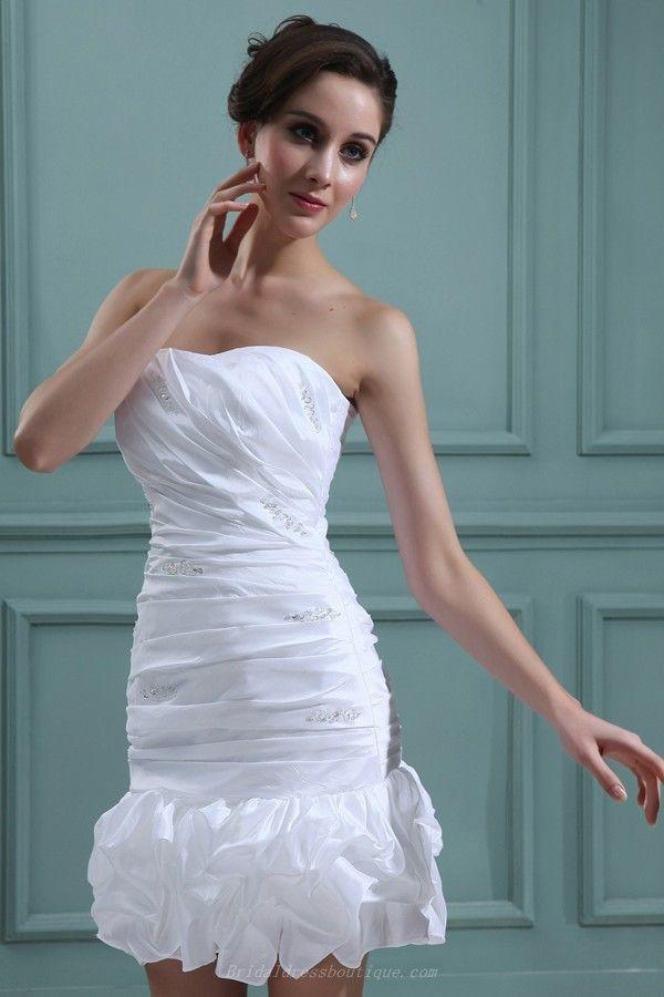Ruffles Sheath/Column Strapless Applique Billowy Mini Summer Wedding ...