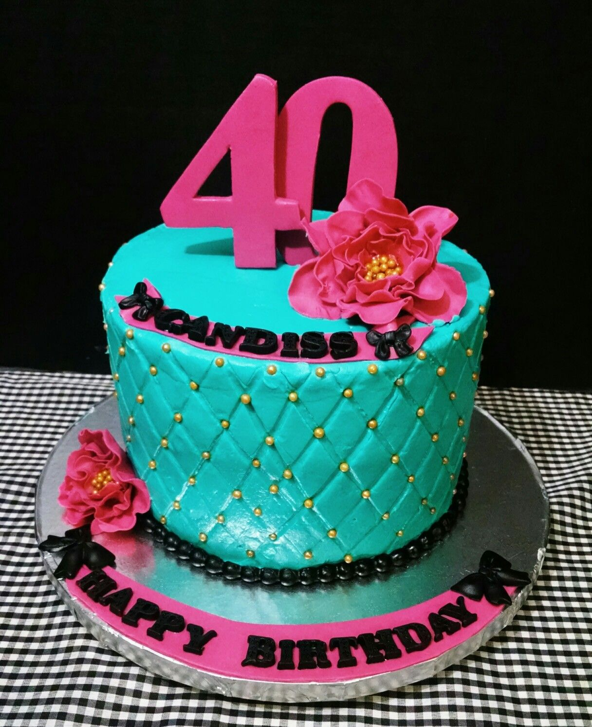 40th Quilted Teal and Fuchsia Birthday Cake with Fondant Flowers