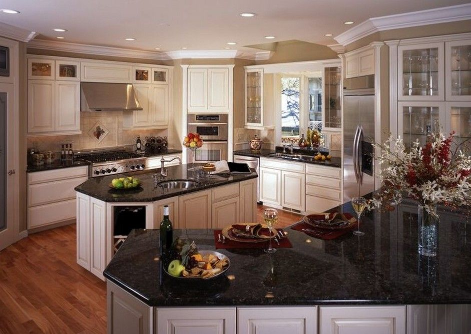 Antique White Kitchen Cabinets, Distressed Black Cabinets With Granite Countertops