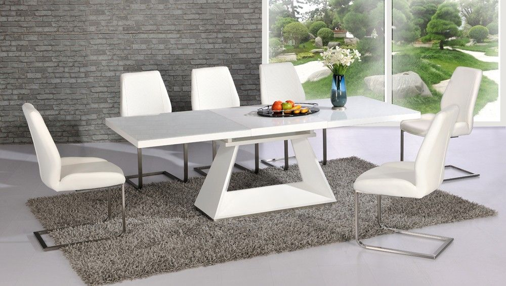 Amsterdam White Glass And Gloss Extending Dining Table 6 Chairs Mesas De Comedor Diseno De Interiores Mobiliario
