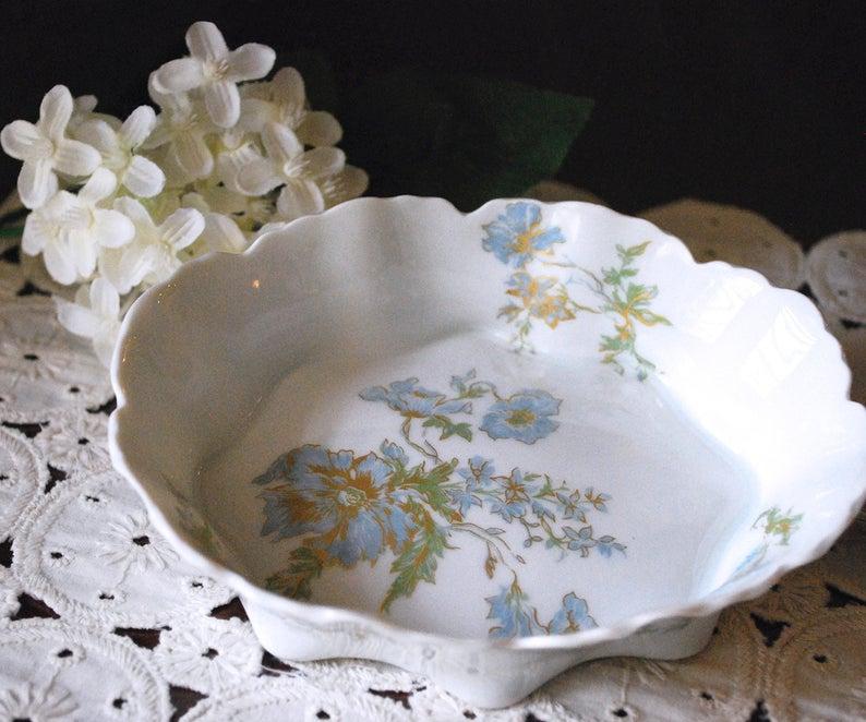 France Soup Soup Dish Limoges Porcelain Flower Pattern 60s