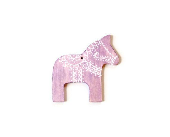 Christmas Ornament Swedish Dala Horse metallic by FischerFineArts, $9.00. Hand painted wood in metallic lavender.