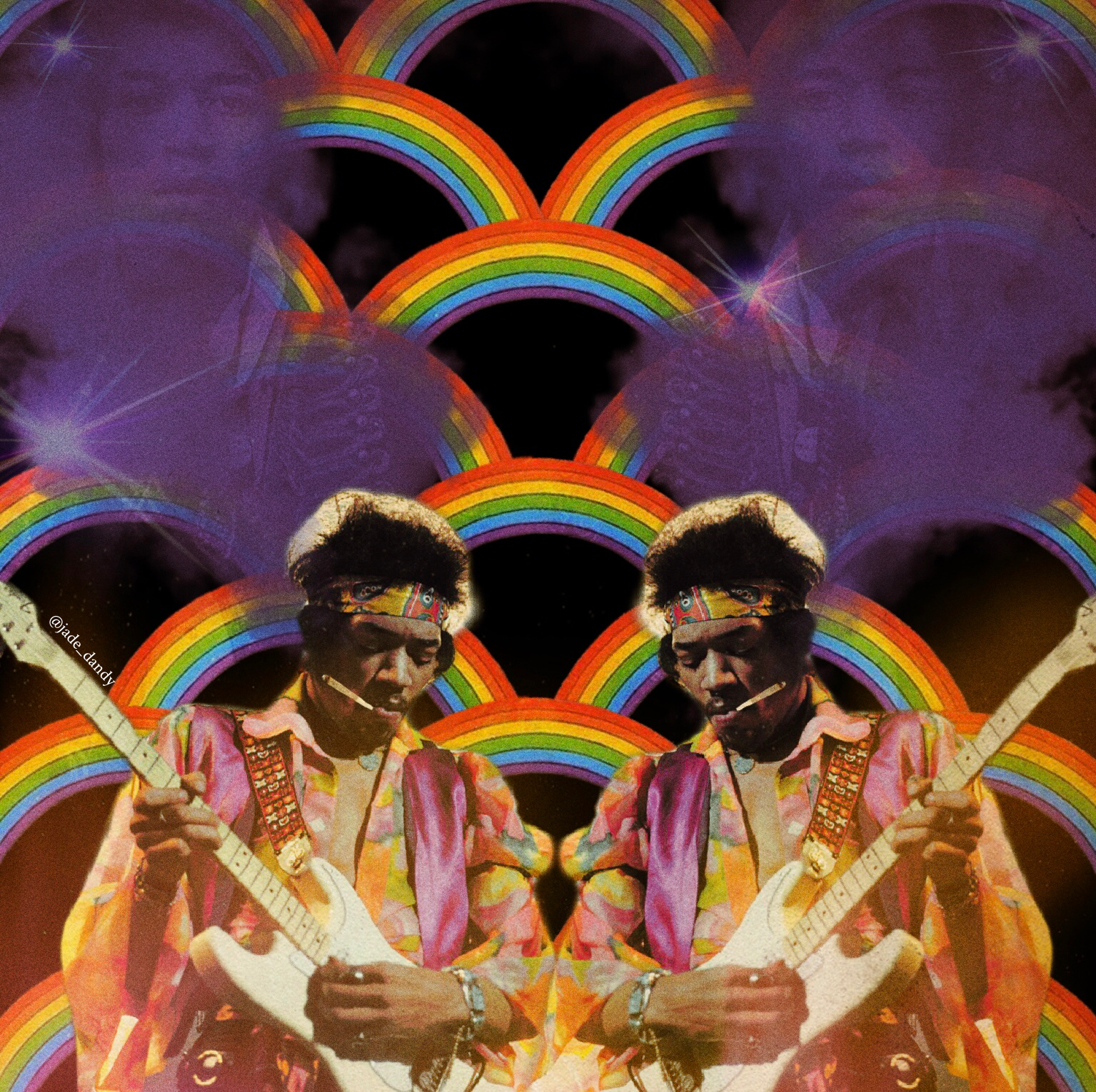 Jimi In The Purple Haze Created Using Mixed Digital Media