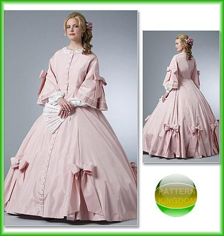 Butterick 5543 Civil War Era Southern Belle Ball Gown Patterns #dressesfromthesouthernbelleera