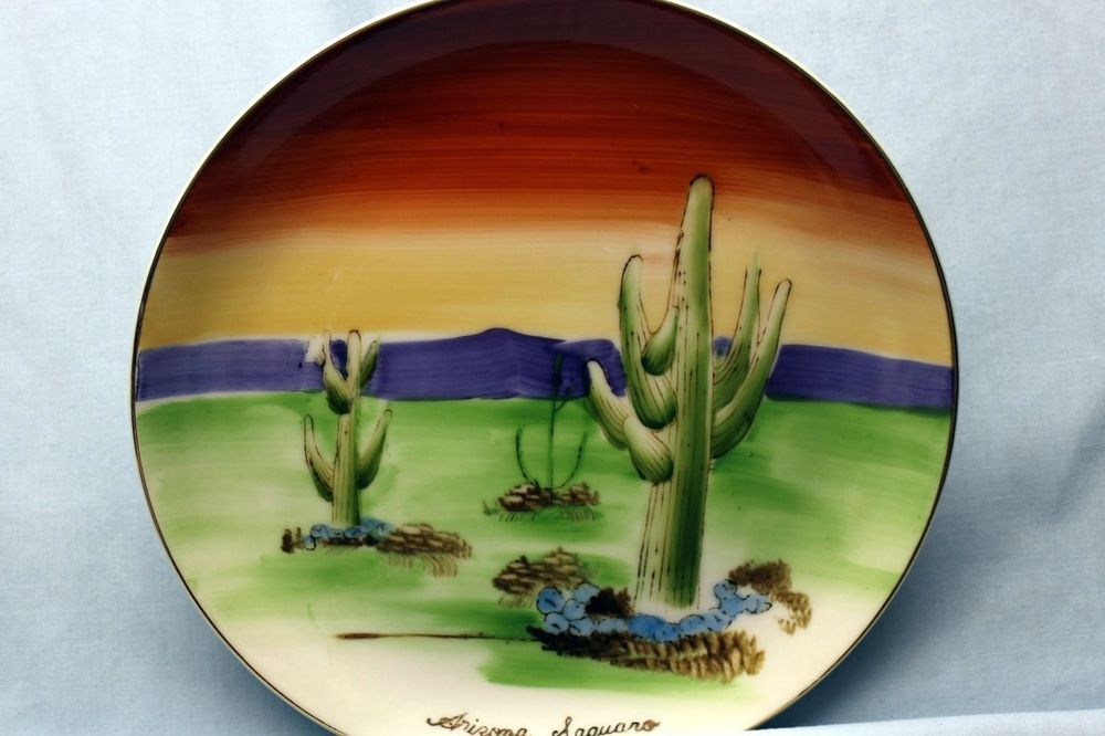#vintage made in japan souvenir hand painted plate arizona saguaro from $0.99