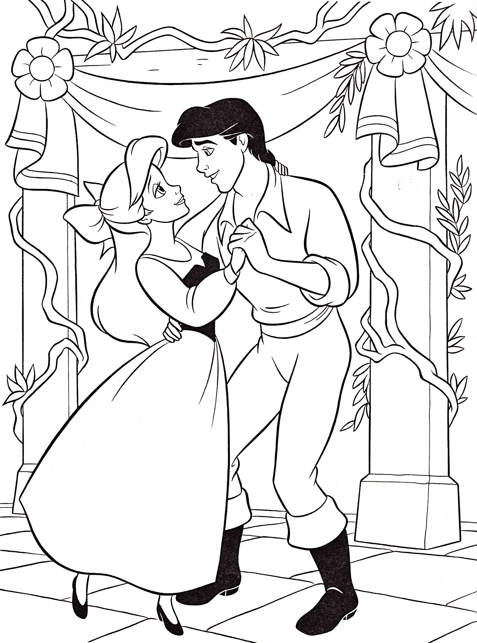 Ariel Dance With Prince Eric Coloring Pages Cartoon