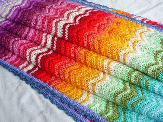 Crochet Afghan Ripple Rainbow Ripple Crochet Edging