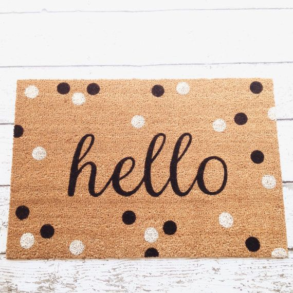 Hello Door Mat Doormat Door Mat Welcome Mat Polka By Lorustique Door Mat Diy Door Mat Front Door Mats