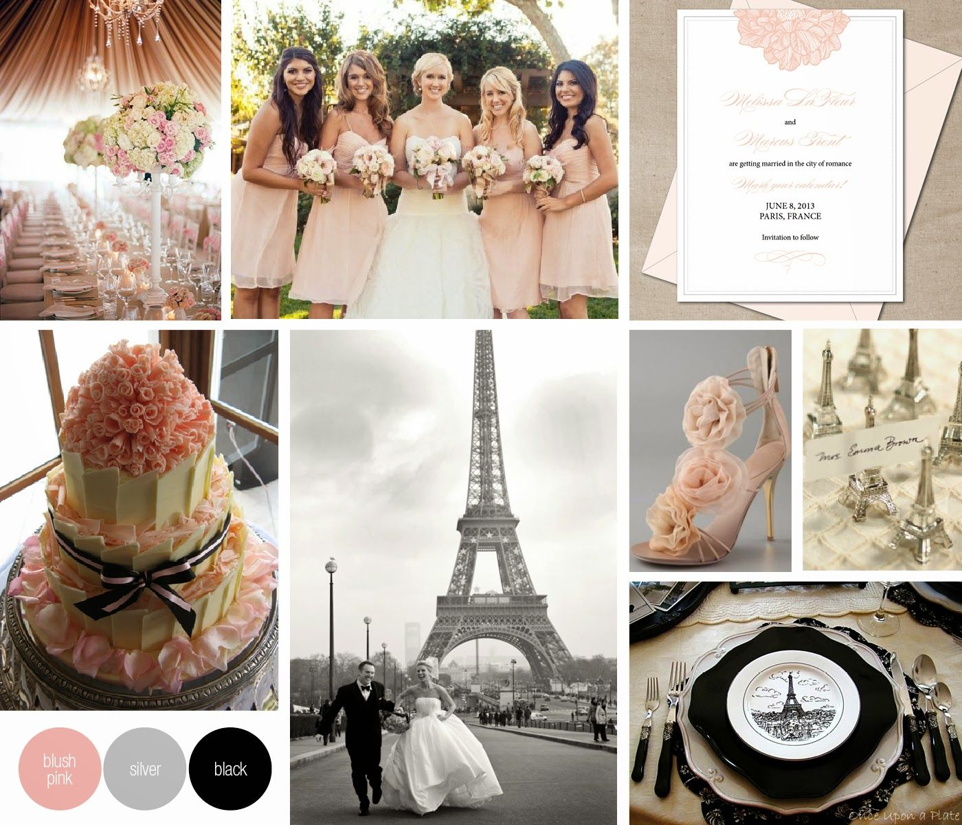 inspiration for a pink, black and white Paris-themed wedding ...