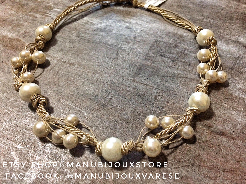 Collana di perle color crema, distanziatori di perle, su spago di