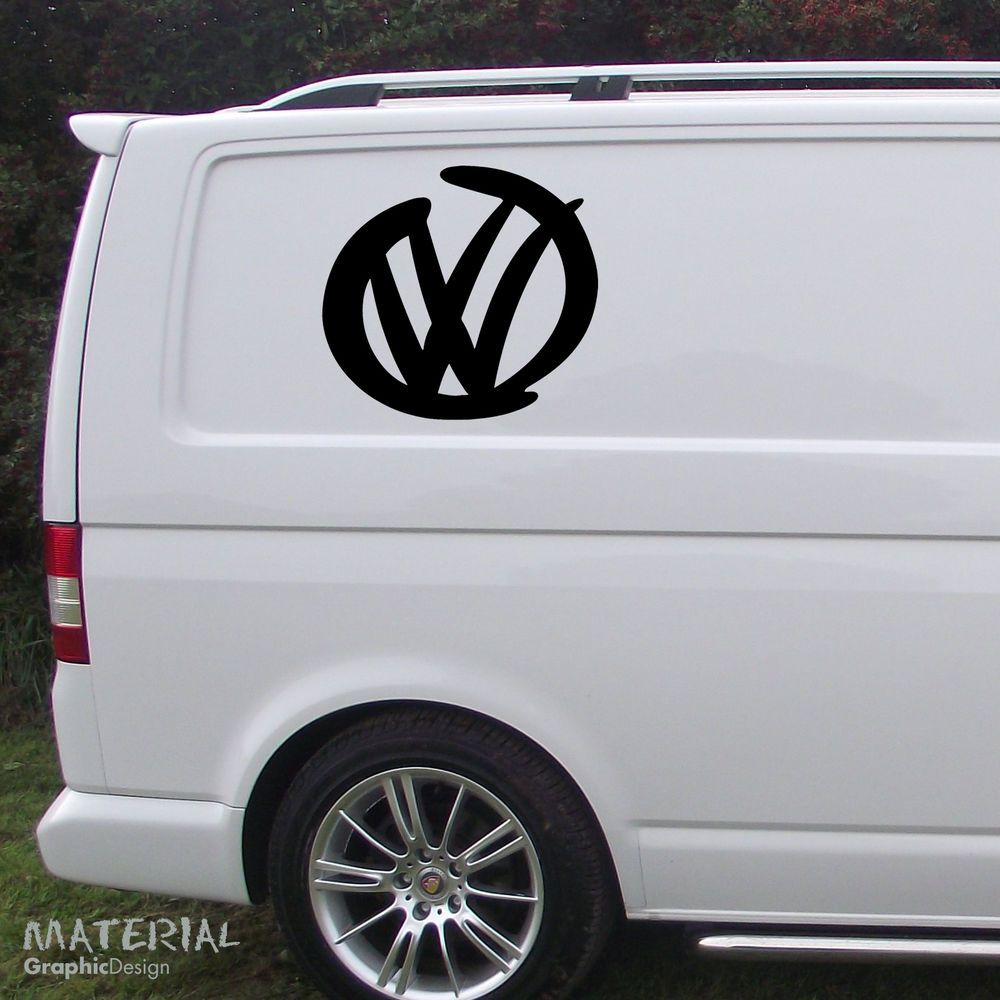 2x vw emblem sticker vinyl decal golf car van window. Black Bedroom Furniture Sets. Home Design Ideas