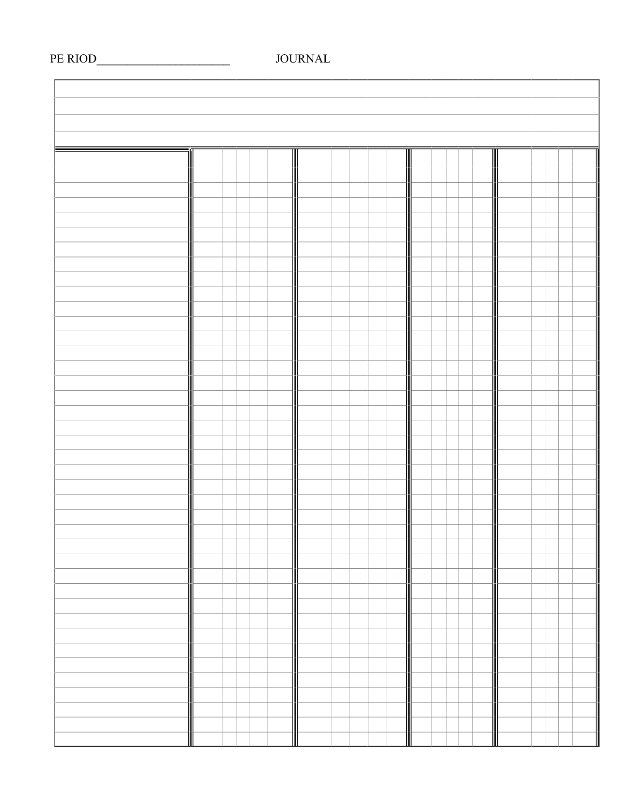 Printable 4 Column Template