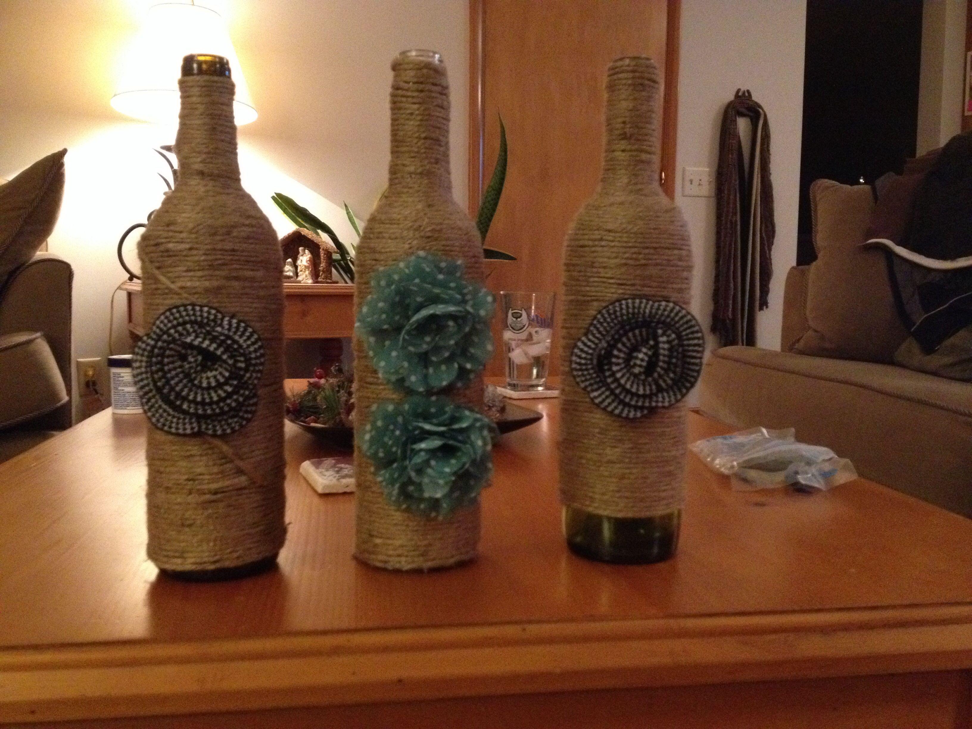 Wine bottle crafts art craft pinterest for Wine bottle crafts for sale