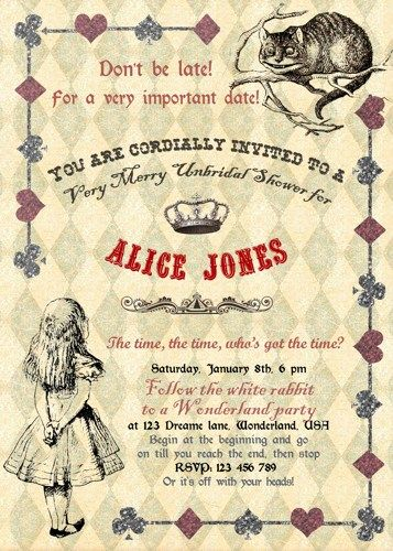Alice in wonderland bridal tea shower alice in wonderland bridal alice in wonderland mad hatter bridal shower tea party invitation for birthday baby shower bridal shower tea party printable diy filmwisefo