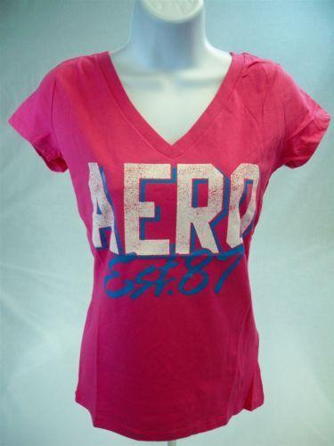 Aeropostale-Womens-Juniors-Short-Sleeve-Graphic-T-shirt-Pink-size-L-Aero-Tee