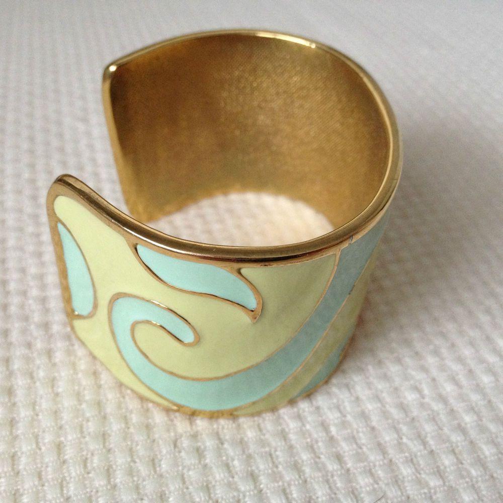 Vintage gold tone light green aqua enamel thick cuff bracelet