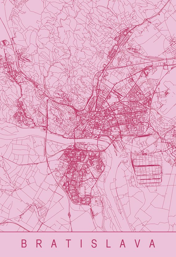 pink room göteborg karta BRATISLAVA MAP   Modern Bratislava Art Print, Minimalist City Map  pink room göteborg karta