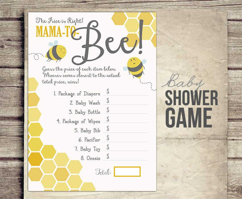 Bee Baby Shower Game Price Is Right Mom StudioTwentyNine