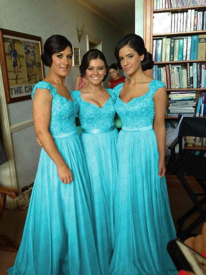 Turquoise Chiffon Corset Long Bridesmaids Dress, Formal Prom Evening ...