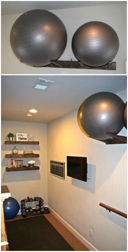 Workout Ball Holder Home Gym Organization Dream Design Diy Workout Room Home Home Gym Decor Home Gym Set