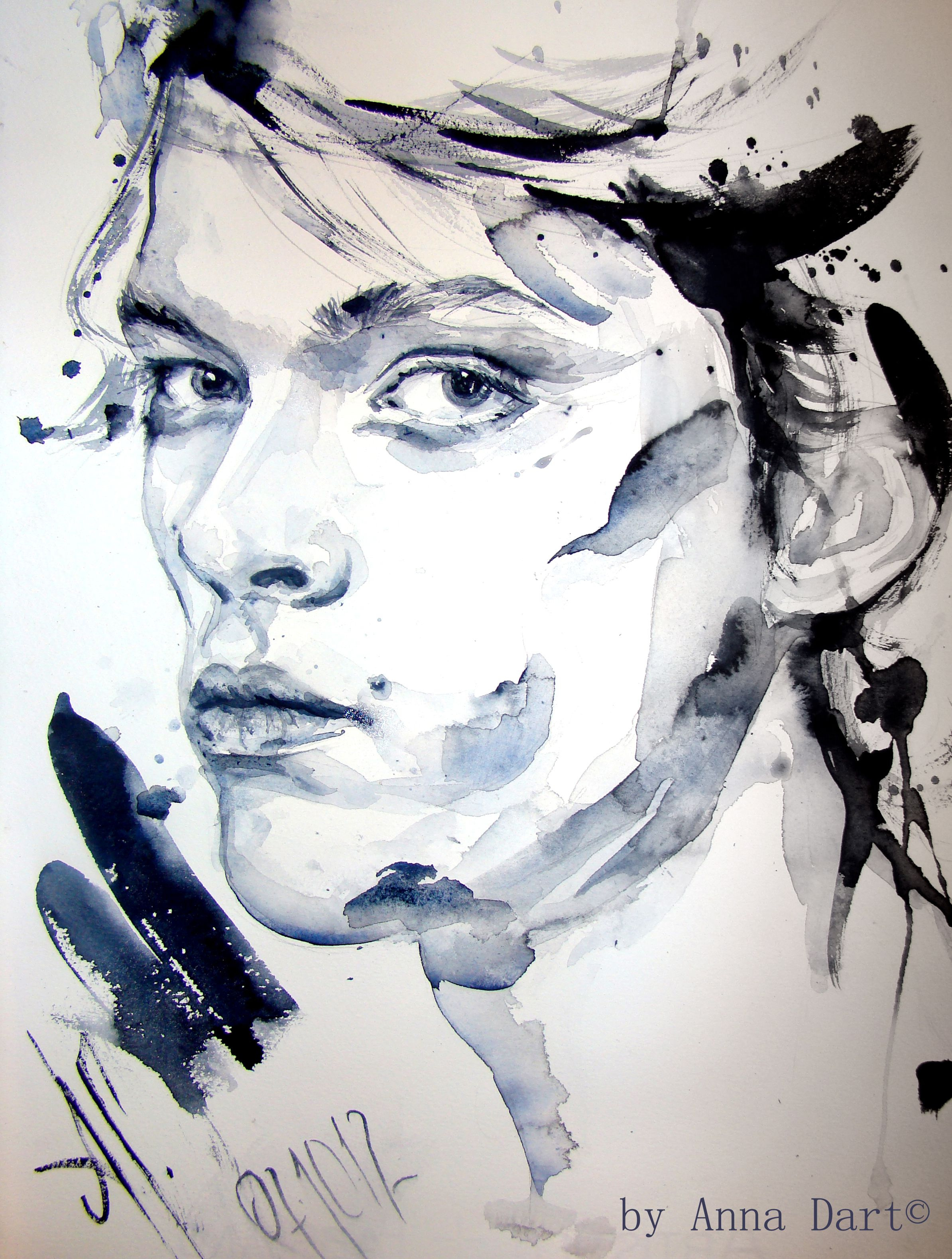Night And Stars Portrait Of Maximilian Rossi Aquarelle By Anna
