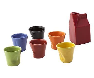 Set da caffe' con bicchierini multicolor e lattiera - 7 pezzi
