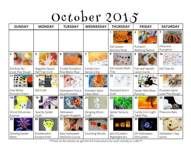 31 Fall \ Halloween Activities for Kids {Free October Activity - activity calendar