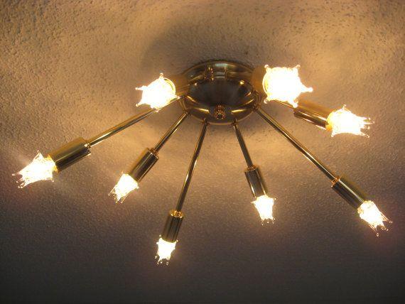 Atomic Wide 8 Arm Flush-Mount Sputnik Ceiling Light Starburst Mid ...