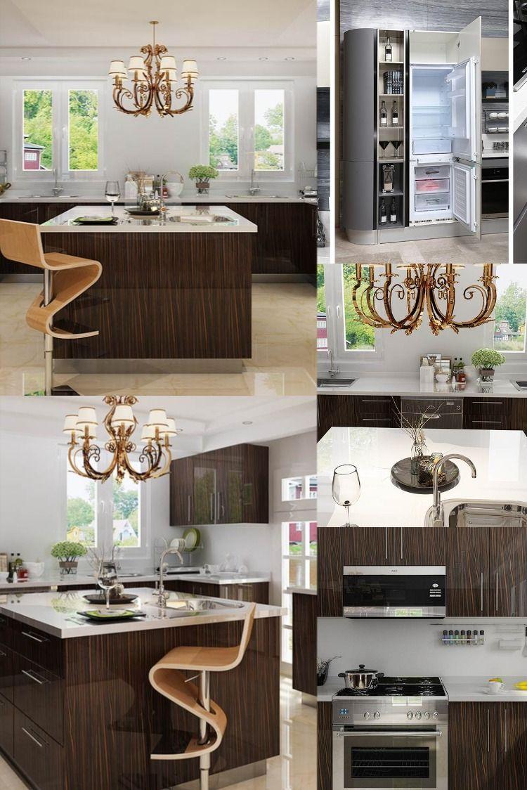 Nl Furniture Modern High Gloss Wood Grain Hpl Kitchen Cabinet In 2020 High Gloss Kitchen Cabinets Modern Furniture Gloss Kitchen Cabinets
