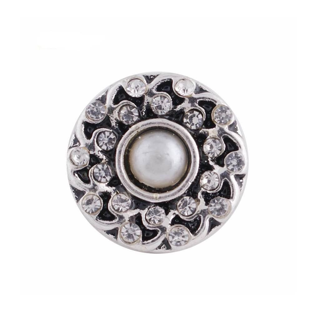 />{12MM Mini Snap Chunk Button Silver Clear Charm For Ginger Snap Style Jewelry