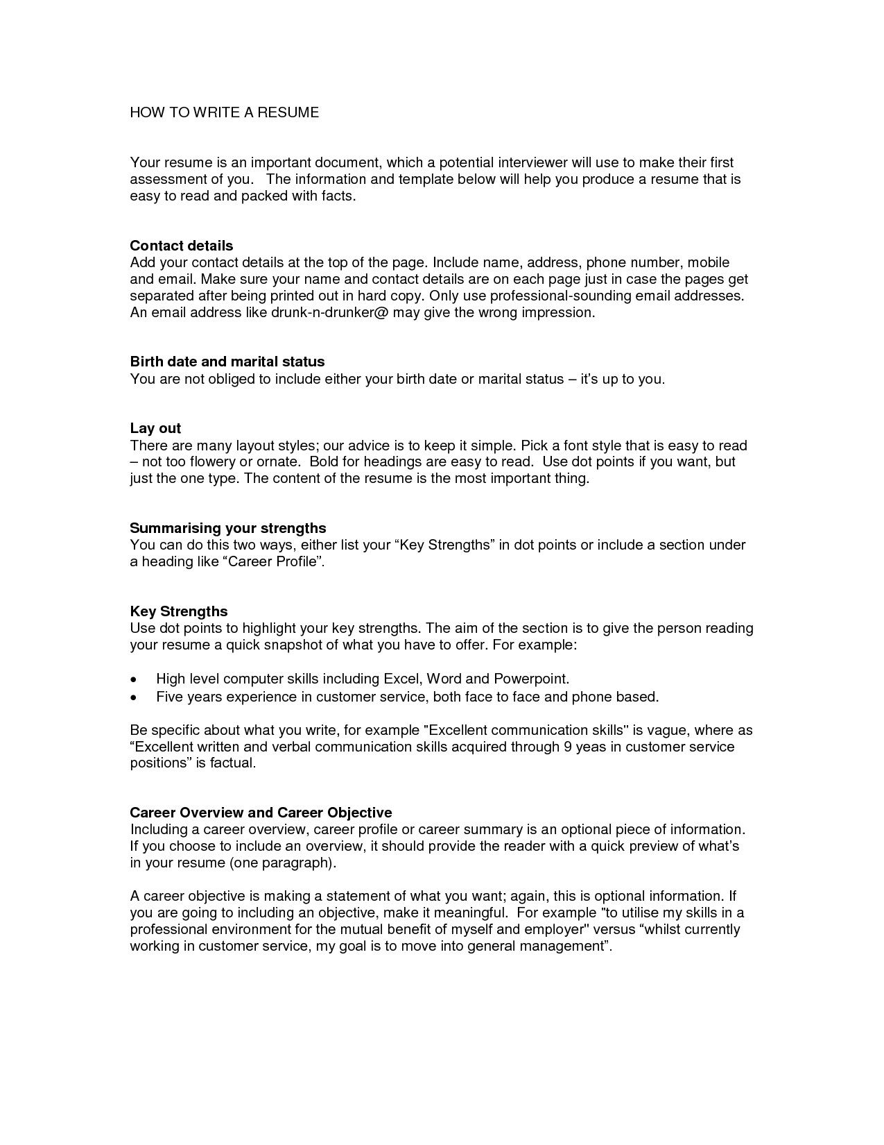 Putting Address On Resume How to Write A Resume Net the