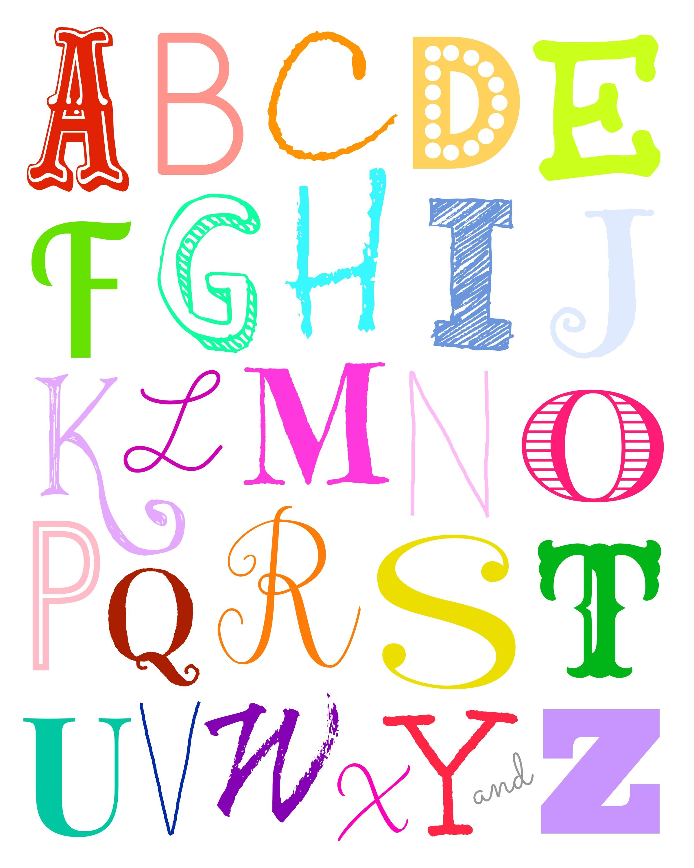 Free Downloadable Alphabet Art Print Size 8 X10 From