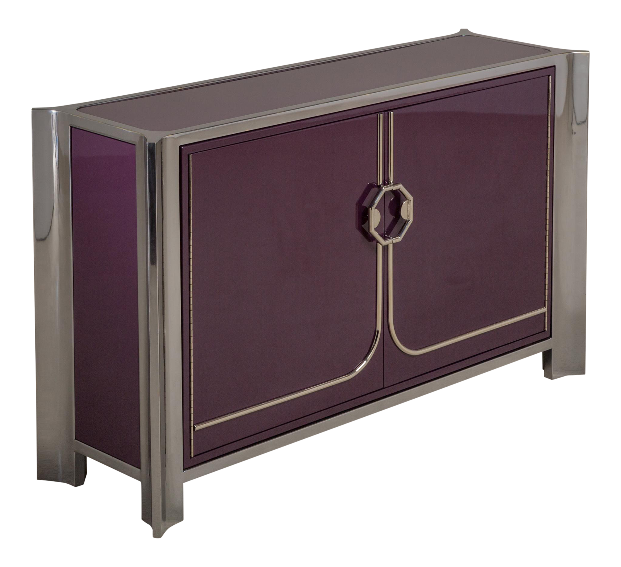 An Aubergine Lacquered Two Door Cabinet By Mastercraft 1980s On