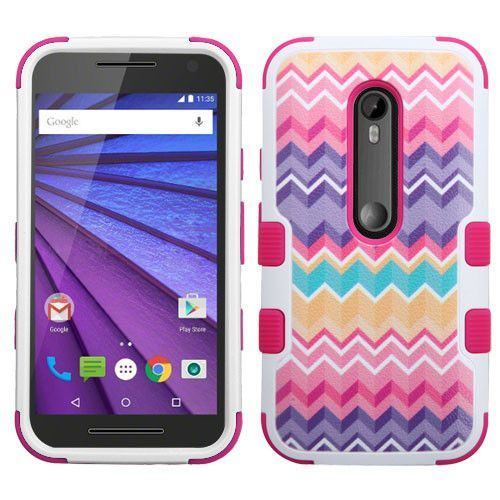 MYBAT TUFF Hybrid Motorola Moto G 3rd Gen Case - Camo Wave/Pink
