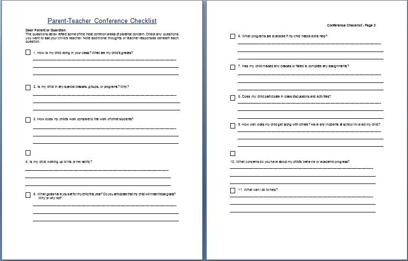 parent teacher conference request form template